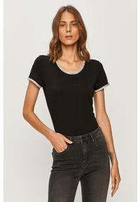 Czarna bluzka Calvin Klein Jeans na co dzień, z aplikacjami, casualowa
