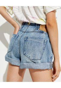 ONETEASPOON - Spodenki z wysokim stanem Pionieer. Stan: podwyższony. Kolor: niebieski. Materiał: bawełna, tkanina, jeans. Sezon: lato