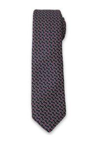 Stylowy Krawat Męski w Drobny, Czerwony Wzór Paisley - Alties- Granatowy. Kolor: niebieski. Materiał: tkanina. Wzór: paisley. Styl: elegancki