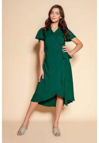 Lanti - Kopertowa Sukienka z Asymetrycznym Dołem - Zielona. Kolor: zielony. Materiał: poliester. Wzór: kwiaty. Typ sukienki: asymetryczne, kopertowe