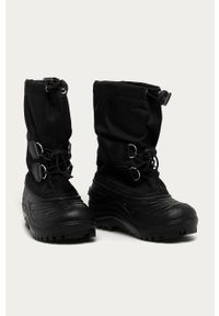 Czarne buty zimowe sorel na zimę, z okrągłym noskiem, z cholewką