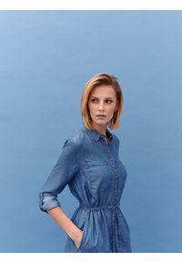 Niebieska tunika TOP SECRET casualowa, z krótkim rękawem, na co dzień