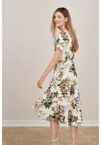 Marie Zélie - Sukienka Rosa Romantique. Typ kołnierza: kokarda. Materiał: tkanina, wiskoza, len, materiał. Długość rękawa: krótki rękaw. Długość: midi