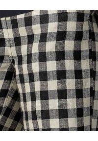 Tory Burch - TORY BURCH - Lniane spodnie w kratę. Stan: podwyższony. Kolor: czarny. Materiał: len. Długość: długie. Wzór: aplikacja