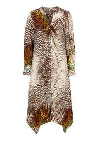 Sukienka Cellbes z motywem zwierzęcym, z asymetrycznym kołnierzem, z długim rękawem, asymetryczna
