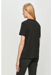 Czarna bluzka Wrangler z nadrukiem, casualowa, na co dzień