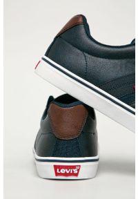 Niebieskie sneakersy Levi's® z cholewką, w kolorowe wzory, z okrągłym noskiem