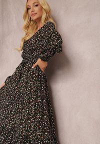 Renee - Czarna Sukienka Appoloin. Kolor: czarny. Materiał: materiał. Długość rękawa: długi rękaw. Wzór: kwiaty, aplikacja, kolorowy. Typ sukienki: kopertowe. Długość: maxi #3