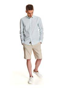 TOP SECRET - Koszula w paski o luźnym kroju. Kolor: zielony. Materiał: tkanina, jeans. Wzór: paski. Sezon: lato, wiosna. Styl: klasyczny, elegancki