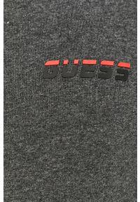 Szara bluza rozpinana Guess Jeans casualowa, bez kaptura, z aplikacjami, na co dzień