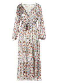 Born2be - Zielona Sukienka Qinrahne. Typ kołnierza: kokarda. Kolor: zielony. Materiał: materiał. Wzór: kwiaty, aplikacja. Typ sukienki: kopertowe, rozkloszowane. Długość: maxi #3