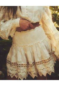 HEMANT & NANDITA - Krótka spódnica Veda. Kolor: biały. Materiał: wiskoza, koronka. Długość: krótkie