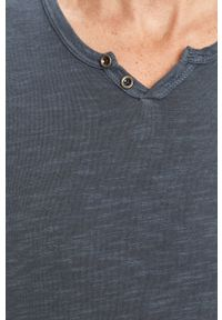 Niebieska koszulka z długim rękawem Jack & Jones na co dzień, z okrągłym kołnierzem, casualowa