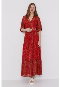 Desigual - Sukienka. Kolor: czerwony. Materiał: tkanina. Długość rękawa: krótki rękaw. Typ sukienki: rozkloszowane