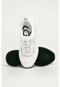 Białe buty sportowe Calvin Klein Jeans na sznurówki, z cholewką
