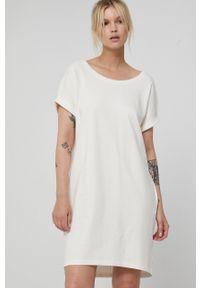 medicine - Medicine - Sukienka Basic. Kolor: biały. Długość rękawa: krótki rękaw