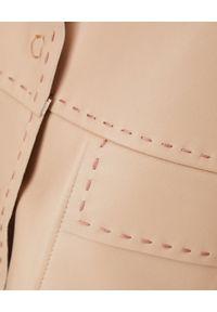 MALIPARMI - Beżowa kurtka skórzana. Kolor: beżowy. Materiał: skóra. Styl: elegancki