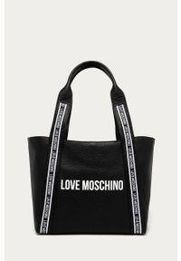Czarna shopperka Love Moschino gładkie, skórzana