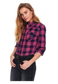 TOP SECRET - Koszula damska z kieszonką. Kolor: niebieski. Materiał: jeans, bawełna. Długość rękawa: długi rękaw. Długość: krótkie. Sezon: wiosna. Styl: klasyczny