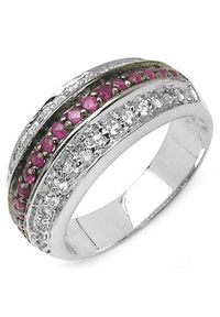 Braccatta - ROBIN Srebrny pierścionek obrączka rubiny szeroka. Materiał: srebrne. Kolor: srebrny. Kamień szlachetny: rubin