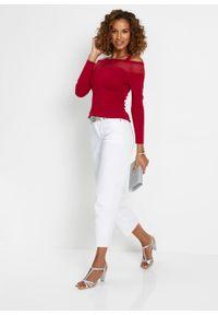 Sweter cold-shoulder z koronką bonprix czerwony chili. Kolor: czerwony. Materiał: koronka. Wzór: koronka