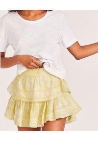 LOVE SHACK FANCY - Żółta mini spódnica Ruffle. Kolor: żółty. Materiał: koronka, bawełna. Wzór: koronka