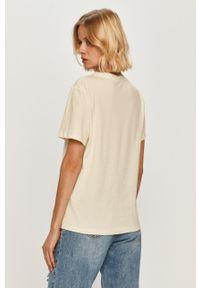 Kremowa bluzka Trussardi Jeans na co dzień, z nadrukiem, klasyczna