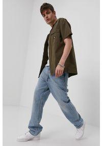 Dickies - Koszula bawełniana. Okazja: na co dzień. Kolor: zielony. Materiał: bawełna. Długość rękawa: krótki rękaw. Długość: krótkie. Wzór: gładki. Styl: casual