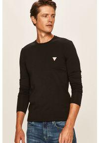 Czarna koszulka z długim rękawem Guess Jeans z okrągłym kołnierzem