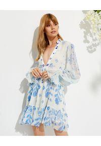 ROCOCO SAND - Sukienka mini Leas z wiązaniem. Kolor: biały. Materiał: wiskoza. Wzór: nadruk, kwiaty. Długość: mini