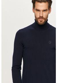 Niebieski sweter Trussardi Jeans z aplikacjami, z długim rękawem, długi, z golfem