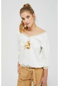 Bluza MOODO z dekoltem w serek, z nadrukiem