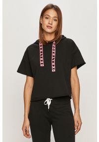 Czarna bluza DKNY krótka, z krótkim rękawem, z kapturem