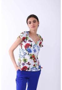 Nommo - Kwiatowa Klasyczna Bluzka z Ozdobnym Dekoltem V. Materiał: wiskoza, poliester. Wzór: kwiaty. Styl: klasyczny