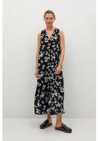 mango - Mango - Sukienka KIWI. Kolor: czarny. Materiał: włókno, materiał. Długość rękawa: na ramiączkach