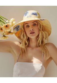 LESHKA - Kapelusz z szerokim rondem Flower Bucket Hat. Kolor: beżowy. Wzór: kwiaty, aplikacja, nadruk. Sezon: lato