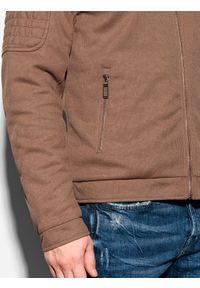 Brązowa kurtka Ombre Clothing ze stójką, na wiosnę #7
