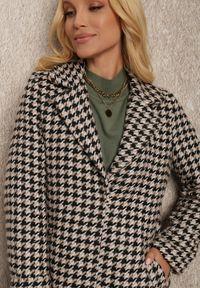 Renee - Beżowy Płaszcz Depholis. Kolor: beżowy. Materiał: tkanina, dzianina, materiał, jeans. Styl: klasyczny, elegancki