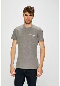 Calvin Klein Jeans - T-shirt. Okazja: na co dzień. Kolor: szary. Materiał: dzianina. Wzór: gładki. Styl: casual