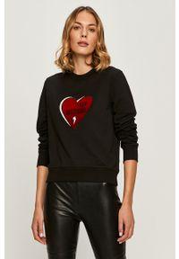 Czarna bluza Love Moschino z długim rękawem, z aplikacjami, casualowa, długa