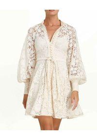 ZIMMERMANN - Sukienka z bawełnianej koronki Cassia. Kolor: biały. Materiał: koronka, bawełna. Wzór: koronka. Długość: mini