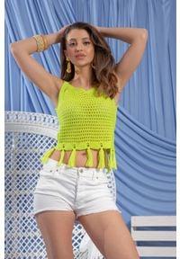Fobya - Ażurowy Top na Ramiączkach z Frędzlami - Zielony. Kolor: zielony. Materiał: bawełna. Długość rękawa: na ramiączkach. Wzór: ażurowy