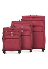 Wittchen - Zestaw walizek miękkich z czerwonym suwakiem. Kolor: czerwony. Materiał: poliester