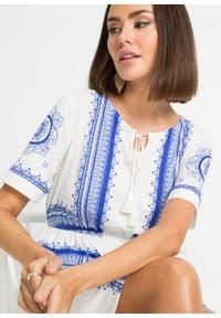 Sukienka z dżerseju z nadrukiem bonprix biel wełny - niebieski z nadrukiem. Kolor: biały. Materiał: jersey, wełna. Wzór: nadruk