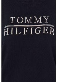 Niebieski sweter TOMMY HILFIGER z długim rękawem, z aplikacjami, długi, na co dzień