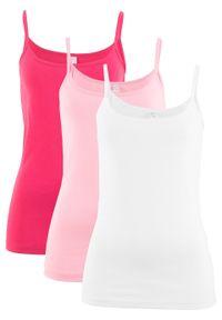 Top na wąskich ramiączkach (3 szt.) bonprix różowy hibiskus + pudrowy jasnoróżowy + biały. Kolor: różowy. Długość rękawa: na ramiączkach
