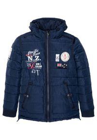 Niebieska kurtka bonprix z nadrukiem, na zimę
