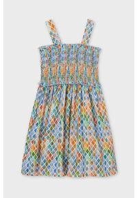 Wielokolorowa sukienka Mayoral z dekoltem karo, rozkloszowana, mini, na ramiączkach