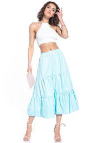 Tessita - Rozkloszowana Midi Spódnica na Gumie - Jasnoniebieska. Kolor: niebieski. Materiał: guma