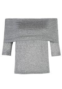 TOP SECRET - Bluzka z odsłoniętymi ramionami. Kolor: szary. Materiał: jeans, dzianina. Sezon: zima, jesień. Styl: elegancki